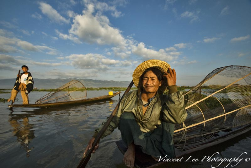 The fisherman and his son at the Inle Lake