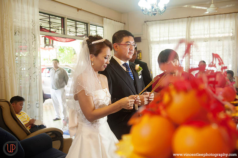 common practice in Chinese wedding honoring / asking for ancestor's blessing