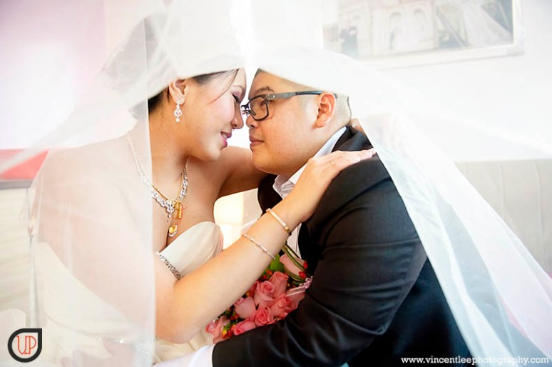 bride and groom share a moment of their joy of their wedding day