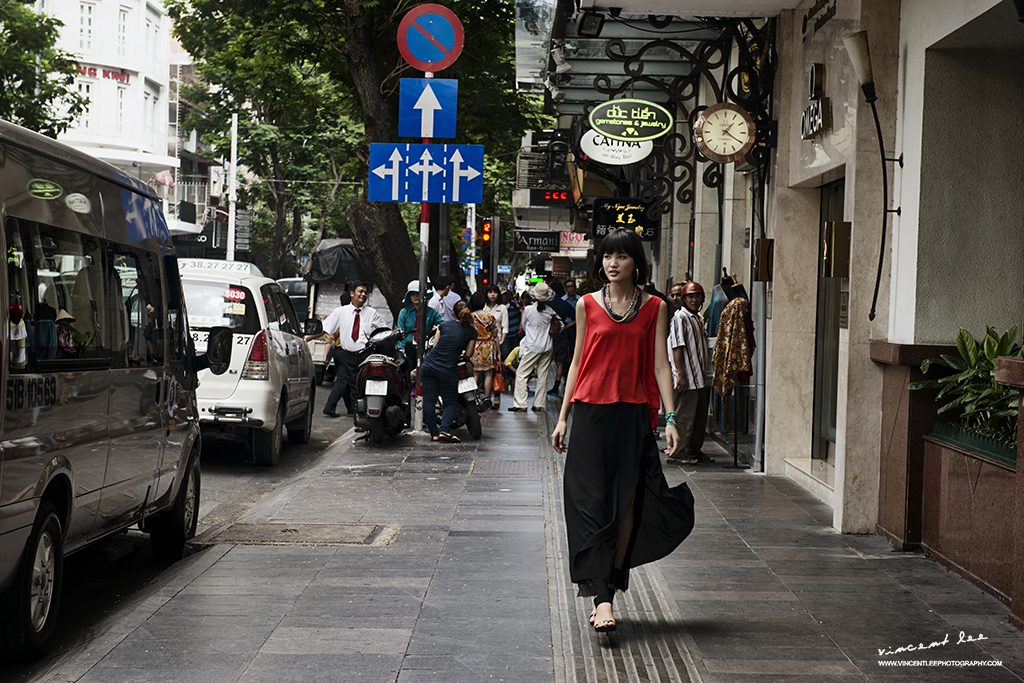 Modern city setting of portrait session at Saigon