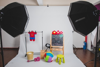 Lots of children's toys and props for photo shoot purpose